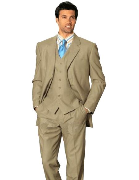 1 One Pleat Pants With 3 Btn Tan ~ Beige Side Vent Jacket Super Light Weight Viscose~Rayon  - Three Piece Suit