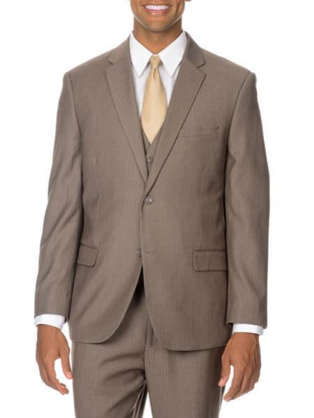 Mens 2 Button Tan / Taupe, Ton on Ton, Shadow Pinstripe Vested Cheap Priced Business Suits Clearance Sale