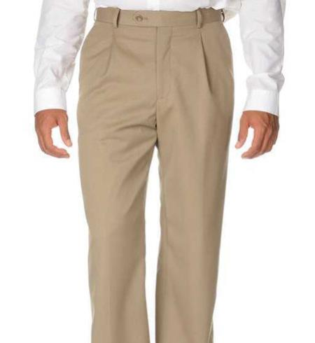 Solid Pleated Dress Pants