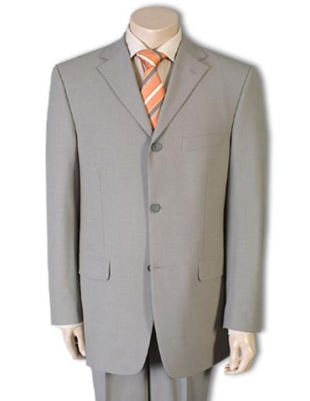 SKU# GBX710 Mens Tan Wool Feel Rayon Viscose (SUPER 120) 3-Button $99