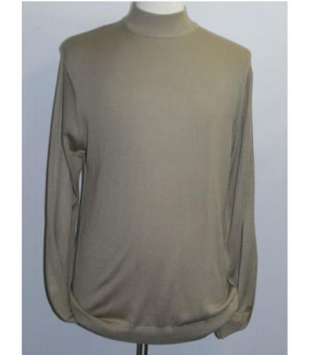 Buy SS-105 Men's INSERCH Taupe Mock Neck Pullover Knit Sweater High Collar