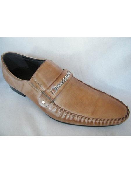 Zota Mens Unique Dress Unique Zota Mens Dress Shoe Brand Mens Fancy Strap Taupe Leather Italian Style Loafers
