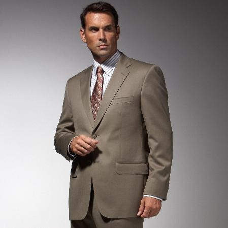 SKU#TU7632 Men's Taupe affordable suit online sale
