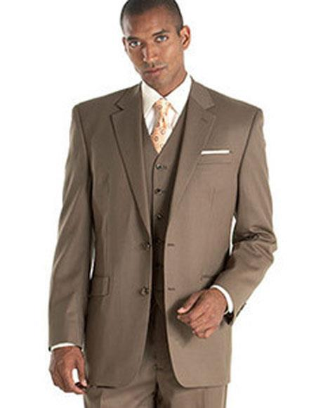 Alberto Nardoni Taupe ~ Slate ~ Brownish ~ Light Olive 3 Piece Vested 2 Buttons suits  Side Vented