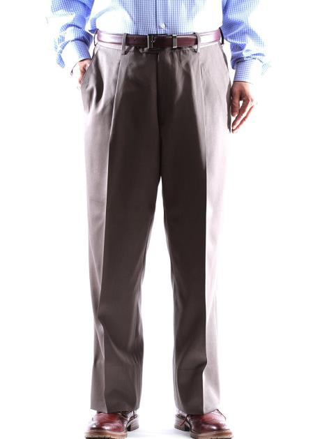 Regular Size & Big and Tall Dress Pants 100% Wool Taupe Gabardine Fabric Pleated Pants unhemmed unfinished bottom