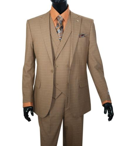 Mens Taupe Mini Plaid