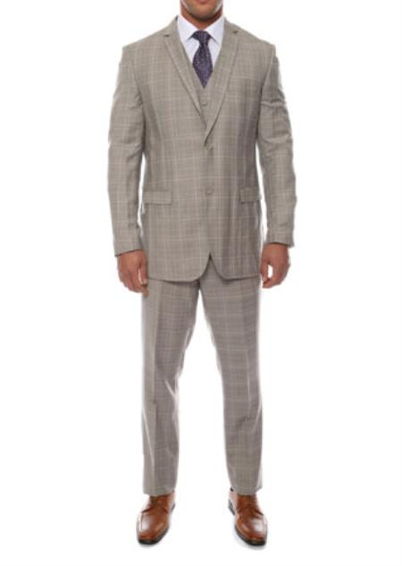 Lazio Taupe Grey 3 Piece Vested Window Pane Slim Fit Plaid Suit