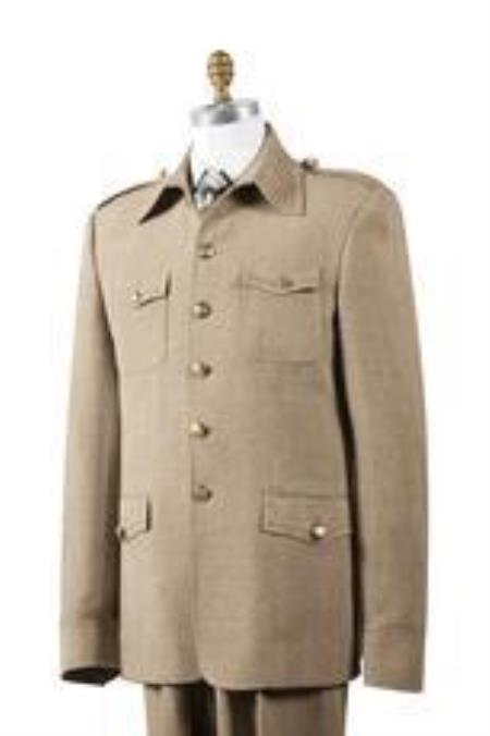 Mens Taupe Nailshead Military