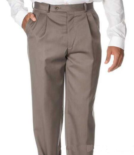 Mens Solid Pleated Dress Pants For man online Taupe Wool Gabardine Slack unhemmed unfinished bottom - Cheap Priced Dress Slacks For Men On Sale