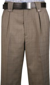 Mens Veronesi Knee 2 Back Pockets Fine Wool Wide Leg Dress Pants Taupe Plaid