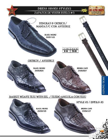 SKU#ABV2573 Stingray/Ostrich/Teju Lizard/Eel Mens Dressy Shoe Diff. Colors/Sizes Black & Brown