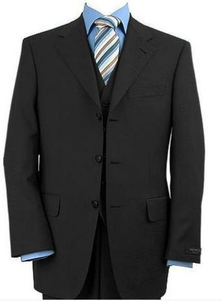 Mens 3 Piece Black Vested Made Premier Quality Italian Fabric Fine Quality Poly~Rayon (Wholesale Price available)