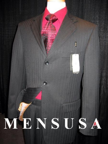 SKU# 3BW99 Stunning Black tone on tone Shadown Pinstripe Super 140S Wool Mens Suits Real Authentic Mini Pinstripe Pleated Pants