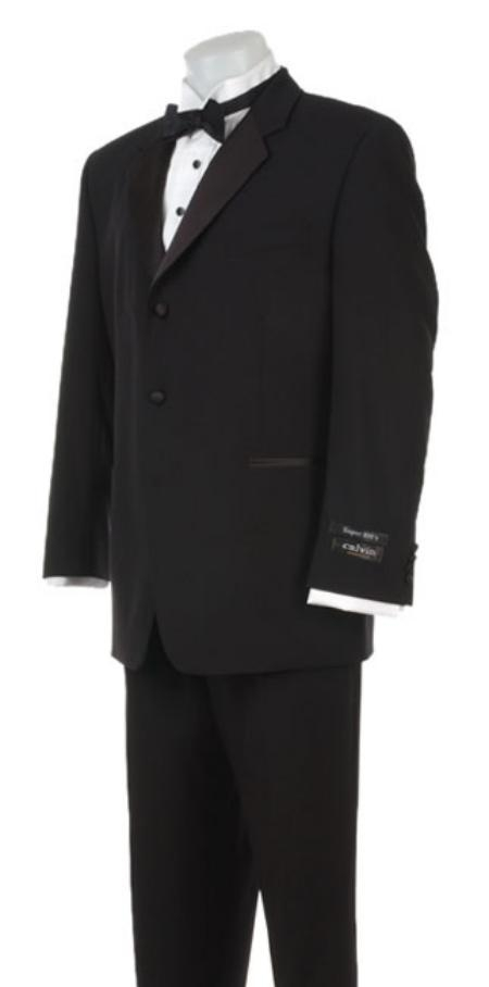 Three buttons Tuxedo Super 120s Wool Feel Light Weight Soft Poly-Rayon Tuxedo Suit + Shirt + Bow Tie + Vest
