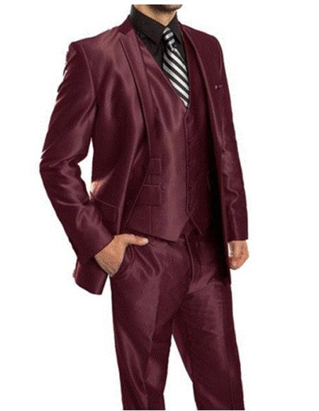 mens  Sharkskin Burgundy ~ Wine ~ Maroon Suit vested Cheap Priced Business Suits Cle
