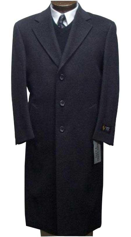 Men's Dress Coat Long Wool Winter Dress Knee length Coat 45 Inch Men's Overcoat Charcoal Gray classic model features button front Wool&Cashmere