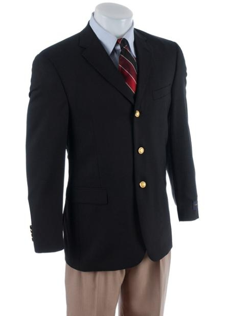 Men's 3 buttons Classic Sportscoat features 3 buttons Bla