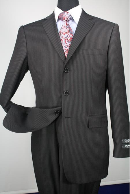 Buy LKM43 Men's 2 Piece 100% Merino Wool Executive affordable suit online sale -Three buttons Black Stripe ~ Pinstripe