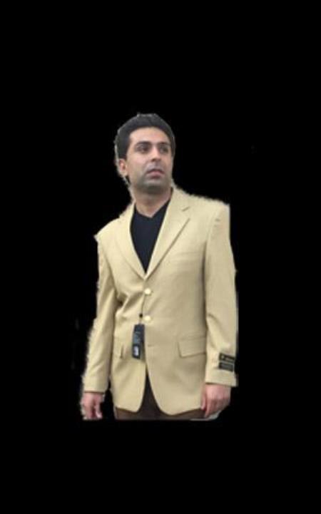 Mens Gold Three buttons Notch Lapel blazer sport coat jacket with brass buttons