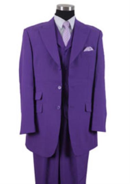 Buy KK3L4 Mens 3 Button Peak Lapel Vested 3 Piece Dress Ticket Pocket Suits Purple