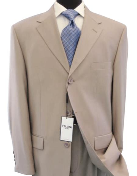 Beige/Tan- Beige Business premier quality Three buttons style italian fabric 100% Worsted Wool Higher Quali