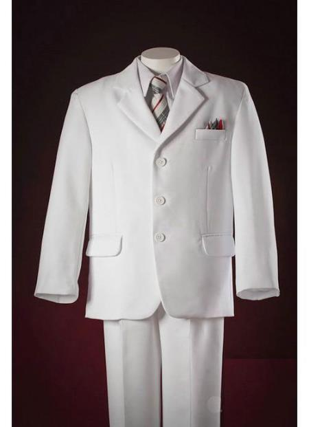 White Pocket Squares Kids Sizes Three Buttons Luxurious Polyester Taylor Made Suit Perfect for toddler Suit wedding  attire outfits