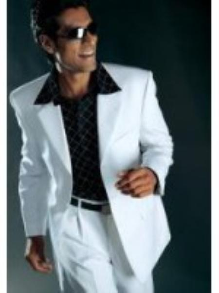 Mens polyester High Twist 3 Button Suits For Men White