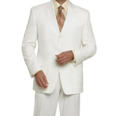 3 buttons Mens Off White wool feel poly~rayon single breasted Suit