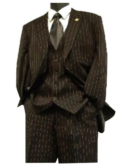 Mens Black / Red Stripe ~ Pinstripe Lapeled Vested Suit