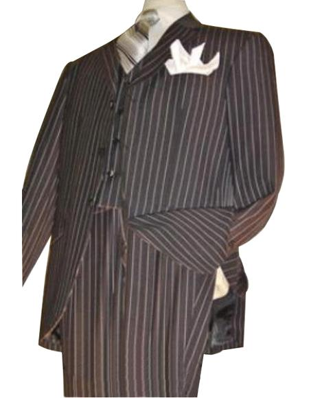 Highest Quality Jet Liquid Black Pinstripe Vested 3 ~ Three Piece Suit Super 120s 100%