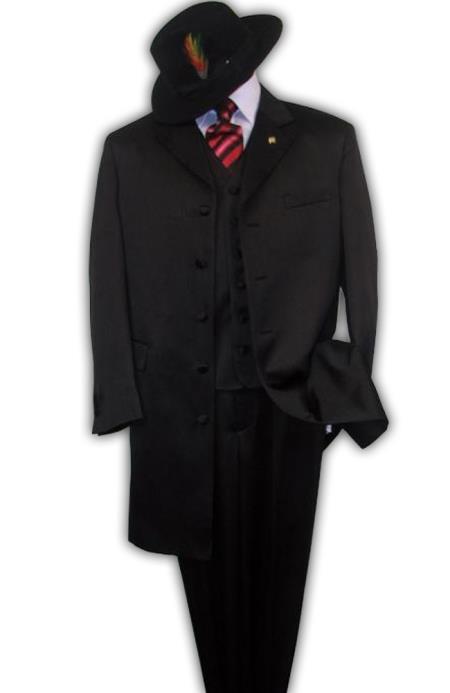 BLACK Zoot Suit - Pimp Suit - Zuit Suit 3PC FASHION ZOOT WITH VEST Cover Buttons $139 (Wholesale Price available) - Three Piece Suit