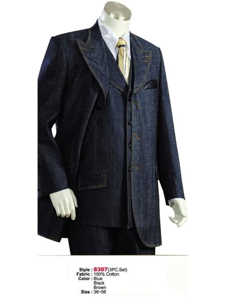 Denim Cotton Fabric Suit Style comes in Blue or Black or Brown Leisure Casual Suit For Sale - Three Piece Suit