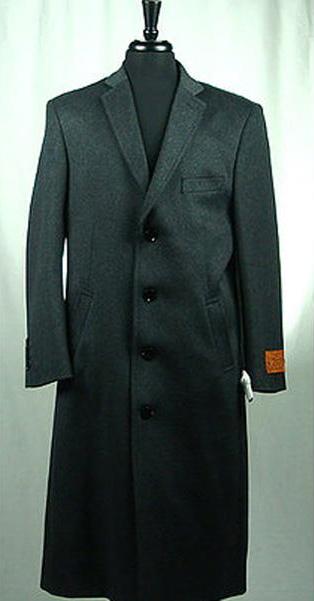 Men's Wool Blend  4 Button Bravo Top Overcoat Charcoal Grey