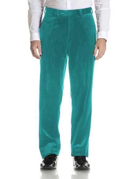 Buy SM2299 Men's turquoise Velvet Fabric Modern Fit Flat Front Pant