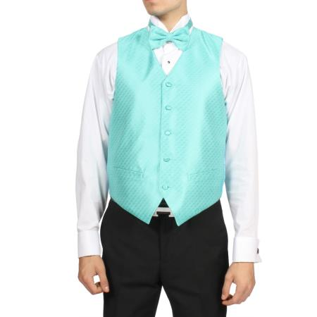 Mens Aqua turquoise Color ~ Light Blue Stage Party 4-Piece Vest Set Also available in Big and Tall Sizes