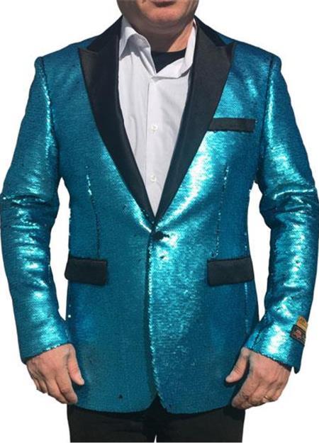 Men's Turquoise ~ Blue Alberto Nardoni Tiffany Blue Shiny Sequin Tuxedo