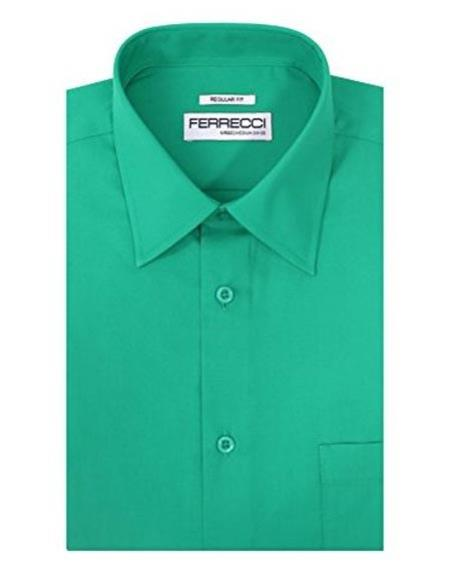 Ferrecci Regular Fit Cotton Blend Lay Down Collared Turquoise Green Men's Dress Shirt