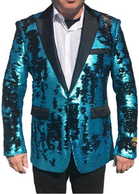 Sequin Blazer Fashion Alberto Nardoni Tiffany Blue Shiny Sequin Tuxedo