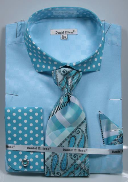 Buy SD17 Mens Turquoise Polka Dot Dress Shirts French Cuffed Matching Shirt & Tie Combo Set