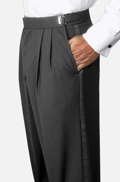 Mens Solid Black Poly-Wool Blend Classic Fit Adjustable Waist Pleated Tuxedo Pants unhemmed unfinished bottom