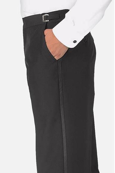 Men's Satin Stripe Black Polyester Classic Fit Plain Front Tuxedo Pants
