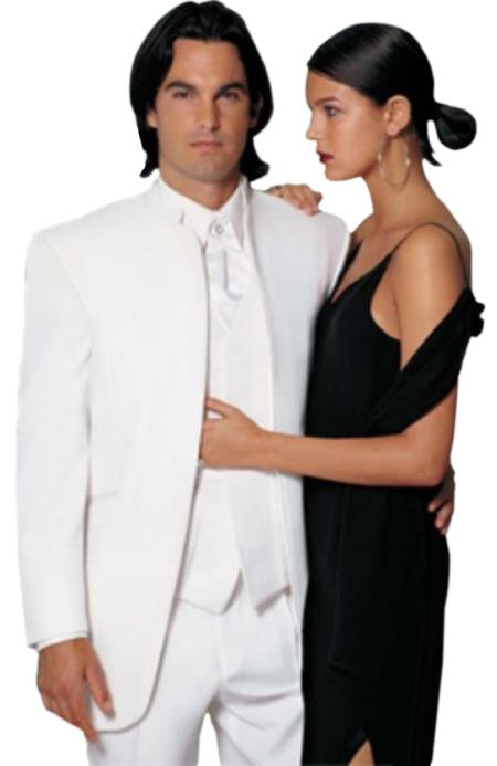 Fitted Fitc Cut Mirage Tuxedo Satin Mandarin Collar (All White Suit For Men) No Buttons $199 (Wholesale Price available)