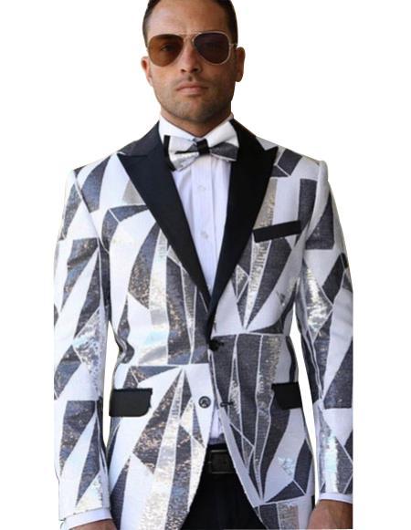 Men's Tuxedo Peak Black Lapel white suit