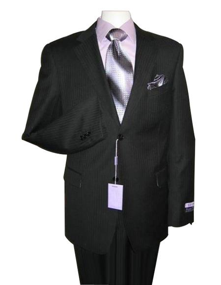 Men's 2 Button Black On Black tone on tone Shadow Stripe ~ Pinstripe Modern Fit 2 Piece Suits - Two piece Business suits