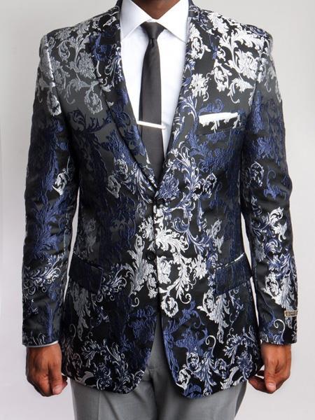 Mens Floral ~ Paisley Blazer Black and Silver ~ Blue ~ Navy Print Sports coat
