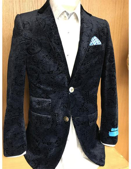Men's Summer Business Suits With Shorts Pants Set (Sport Coat Looking) Indigo ~ Cobalt Blue Suit For Men