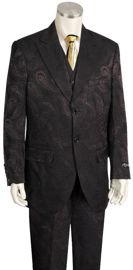 Men's Fashion 3 Piece Paisley Printed Fashion Suit Wide Leg Pants Black & Dark Brown Blazer Looking