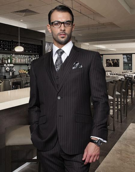 Classic 3PC Vested 2 Button Jet Black Chalk White Pinstripe Suit Super 150s Extra Fine Italian Fabric - Three Piece Suit