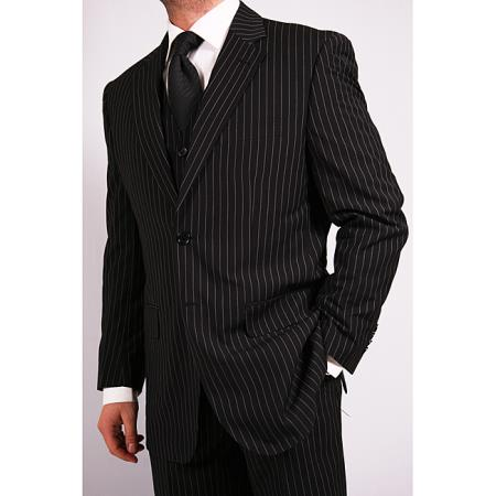 Men's 3-Piece Black Bold White Chalk Bold Pinstripe Vested Cheap Priced Business Suits Clearance Sale