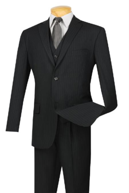 Black Two Button Style Extra Long Pinstripe Suit